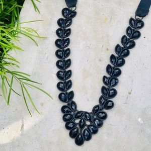 WHBM BLACK faceted rhinestone statement necklace